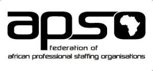 Logo of APSO which stands for African Professional Staffing Organisations
